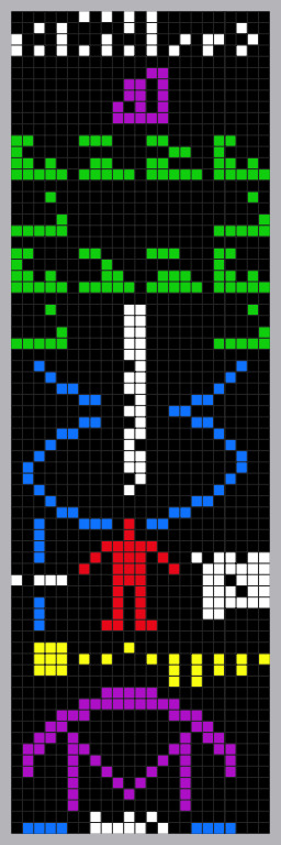 A colorized visualization of the 'Arecibo Message' sent in 1974