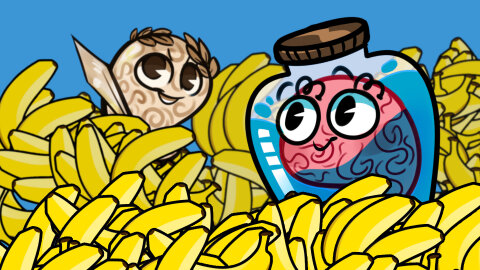 Cartoon characters Jar Brain and History Brain in a pile of bananas