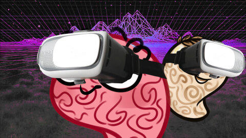 Jar brain and History Brain in futuristic 90s VR