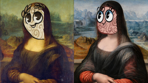 Mona Lisa and Prado Mona Lisa with horrifying Decipher Media cartoon brain faces