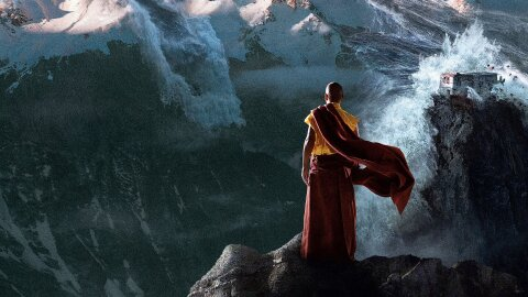 A Tibetan monk on a mountaintop oberserving massive global flooding