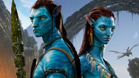 Two blue cat people, Avatar movie backdrop