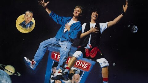 Bill and Ted sitting atop a flying phonebooth time machine