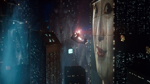 Blade Runner cyberpunk city movie backdrop