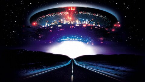 Classic UFO over an empty road - Close Encounters movie backdrop