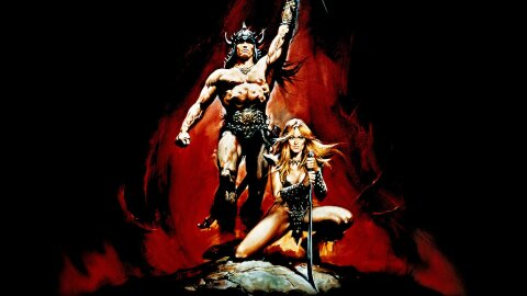 Conan the Barbarian standing triumphant with a hot 80s fantasy lady