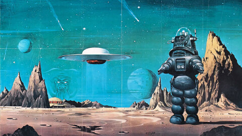 Forbidden Planet robot on alien landscape movie backdrop