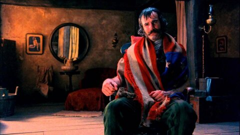 Bill the Butcher draped in an American flag, Gangs of New York movie backdrop