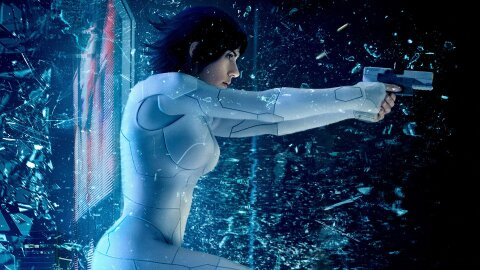 Live-action GiTS Major jumping through glass and firing a pistol