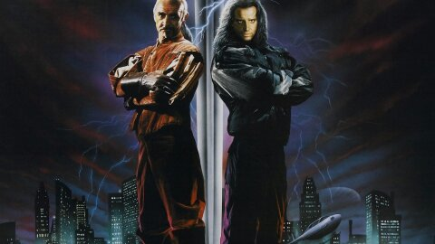 Connor MacLeod and Sean connery standing with swords and lightning over dystopia..?