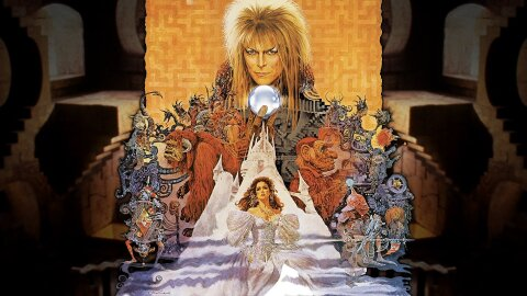 David Bowie holding his balls over all of the characters from Labyrinth, movie backdrop