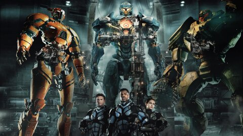 Robots and robot-riders, but some different ones this time, standing dramatically. Pacific Rim Uprising movie backdrop.