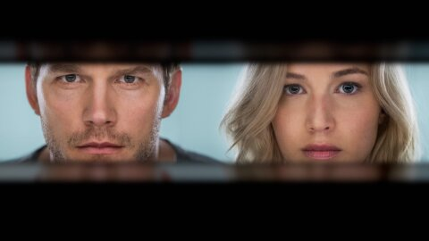 Chir sPratt and Jennifer Lawrence gazing through a slit Passengers movie backdrop