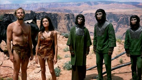 Humans enslaved by apes Planet of the Apes movie backdrop