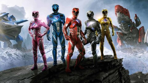 2017 Power Ranger people standing and looking cool on like, a rock