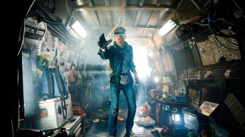 Kid in VR in a messy trailer, Ready Player One movie backdrop