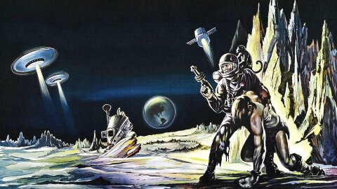 Robinson Crusoe on Mars in a spacesuit helping a 'native' man. Also there are flying saucers? Robinson Crusoe on Mars movie backdrop.
