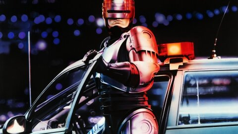 Robocop getting out of the cop car movie backdrop