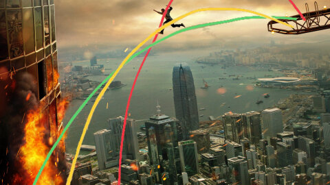 Skyscraper movie backdrop, but with trajectory lines