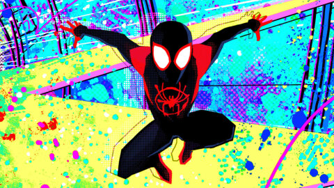 Miles Morales jumping out of a brilliant pop-art background