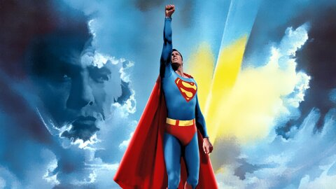 Christopher Reeves Superman flying straight up and also Marlon Brando's ghost is there