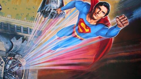 Superman zooming with a nuclear missile