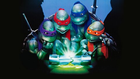 Ninja turtles standing worriedly around a broken vial of toxic ooze