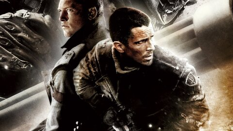 john Connor and another guy in the future where robots are trying to exterminate humanity
