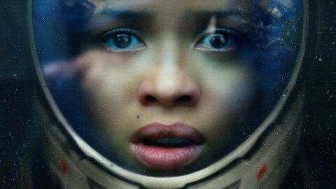 A worried person in a space helmet, Cloverfield Paradox movie backdrop