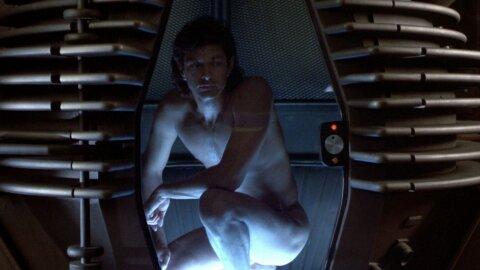 Sexy naked Goldblum in a transporter pod thing