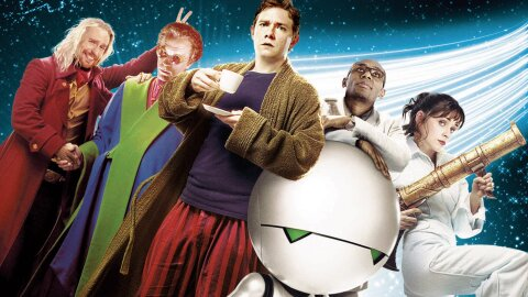 Arthur Dent and friends assembled in movie-poster fashion.
