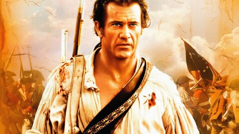 Mel Gibson as a dramatic colonial-era hero, The Patriot movie backdrop