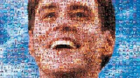 Truman as a mosaic of candid camera shots, Truman show movie backdrop
