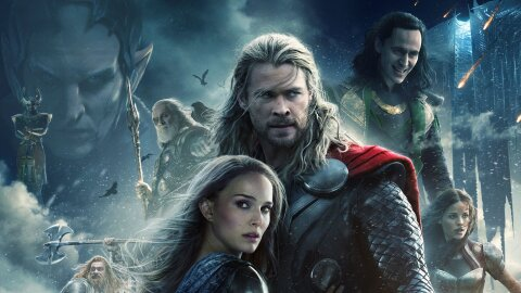 Piles of people and heads with Thor and Natalie Portman in front