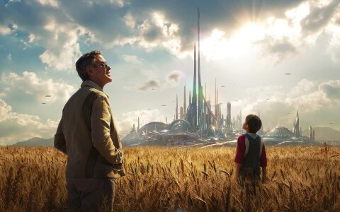 Tomorrowland corn field city movie backdrop