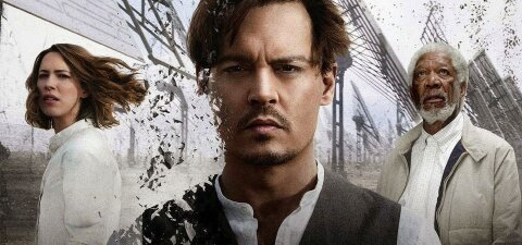 Johnny Depp digitally disintegrating movie backdrop