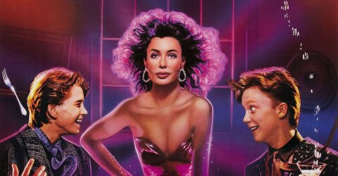 Two dudes being surprised by an attractive conjured woman Weird Science movie backdrop