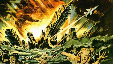 1950-s style painting of people running away from an exploding city