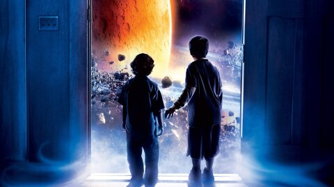 Two boys gazing wonder at outer space through their front door, Zathura movie backdrop