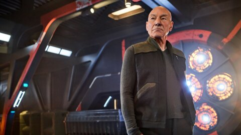 Picard looking really dapper and heroic on a space ship