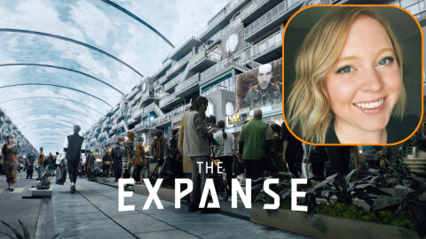Cailin Munroe VFX supervisor superimposed over a scene from The Expanse