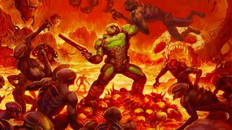 Doom Guy kicking demon butts, Doom game backdrop