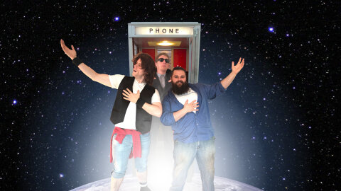Decipher SciFi hosts and Brandon Rollins cosplaying as Bill & Ted