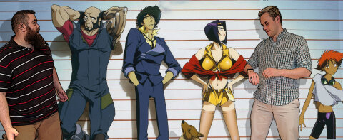 Decipher SciFi hosts Christopher Peterson and Lee Colbert in the Cowboy Bebop lineup